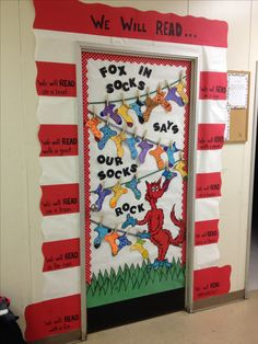 Fox in Socks Says Our Socks Rock! Cute Dr. Seuss classroom door display with student names written on socks.