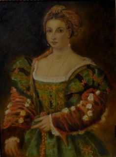 """Tiziano Vecellio, """"La Bella"""". This copy is a work in progress from 10 years. It seems finished, but some particulars must be defined. My art and colors allow me to continue working at any time, even after several decades."""