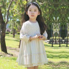 2016 Summer Autumn Flower Girls Lace Princess Dresses Children Clothing Kids Evening Dress Girls Floral Dress Dark Blue/ Beige-in Dresses from Mother & Kids on Aliexpress.com | Alibaba Group
