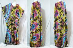 vtg HIPPIE BOHO thai handmade full rainbow tie dye kimono kaftan maxi dress 281