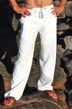White Linen Riviera Pant for the groomsmen