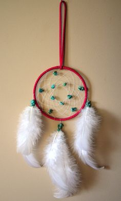 Pink Suede Dream Catcher with Turquoise by DreamySummerNights, $7.00
