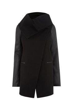 Oasis, LINDSAY DRAPE COAT Black