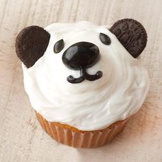 Panda Cupcakes: did these for purple pandas soccer party; made the icing purple and used a junior mint for the nose instead of the jellybean suggested by the recipe. also... used chocolate chips for the eyes, and mini oreos for the ears. the kids loved them!!