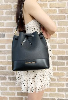 7376aaaf36c3 Michael Kors Trista Medium Bucket Bag Black Saffiano Leather