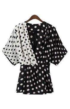 Women elegant patchwork polka dot shirt v neck half sleeve pleated blouse ladies casual tops Casual Tops For Women, Blouses For Women, Polka Dot Blouse, Polka Dots, V Neck Blouse, Womens Fashion For Work, International Fashion, Half Sleeves, Fashion 2017