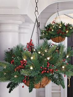 Battery Powered Evergreen Hanging Basket - Lighted Pine Basket ...