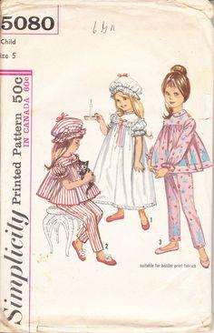 Simplicity 5080 girl's pajamas, nightgown, cap