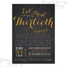Typography Adult Birthday Invitation Eat by GreenCherryFactory