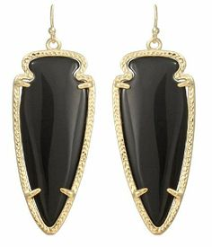 Kendra Scott Skylar Drop Earrings Black Onyx 14k Gold Plated Kendra Scott. $63.00. Style: Dangle, Drop, Style #E-3471. Comes with its Kendra Scott fabric bag.. Measurements:  Approximate.  2.25 inches long by .75 inch wide. Stone/Color:  Simulated Black Onyx. 14k Gold-Plated over Brass.   Closures:  Ear Wire