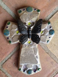 Butterfly mosaic cross with breast cancer ribbon charm & circle if friends charm.