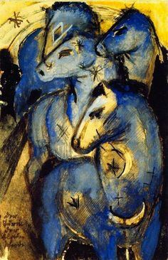 "Franz Marc (1880-1916) "" Tower of Blue Horses."""