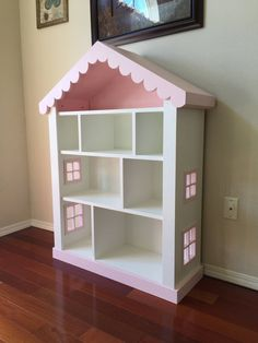 Dollhouse Bookcase, Kids Bookcase, Childs Bookshelf Give your favorite little Princess a gift she will cherish for years to come! A quality handcrafted, sturdy childs bookcase with a fantasy do Dollhouse Bookcase, Kids Bookcase, Wooden Dollhouse, Diy Dollhouse, Bookshelves, Billy Bookcases, Girls Bookshelf, Homemade Dollhouse, Bookcase Plans