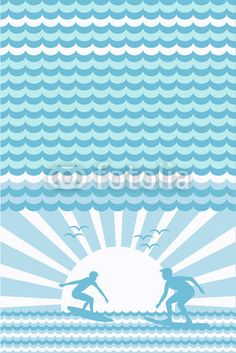 Wektor: wellen und surfer