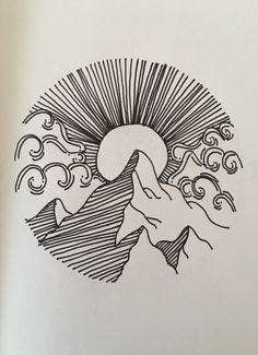 Mountain, Cloud & Sun tattoo