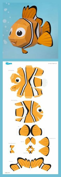 Nemo Papercraft - - Diy How to Crafts 3d Paper Crafts, Paper Toys, Diy Paper, Foam Crafts, Printable Paper Crafts, Paper Cards, 3d Templates, Paper Animals, Paper Folding