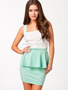 Free Shipping 2014  European and American Lady Summer Mini Casual Dress  Peplum High Street Office Bodycon  Midi OLDress