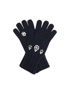 Guanti di maglia con ricamo bijou
