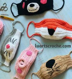 Animal face mask child sizeRight now let us learn to crochet The Face Hide By using Filter. Crochet Gratis, Free Crochet, Knit Crochet, Easy Crochet, Animal Face Mask, Animal Masks, Easy Knitting Projects, Crochet Projects, Crochet Designs