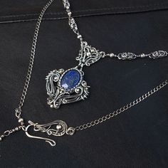 Lapis Lazuli Sterling Silver Statement Necklace Victorian