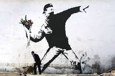 """A dedication to Banksy, including a famous quote he used in the movie """"Exit Through the Gift Shop"""". Graffiti Art """"Flower Thrower"""" copyrighted to Banksy. Banksy Graffiti, Street Art Banksy, Wie Zeichnet Man Graffiti, Bansky, Banksy Artwork, Anti Graffiti, Graffiti Artists, Pop Art Bilder, Urbane Kunst"""