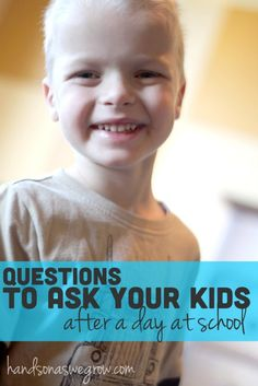 Talk About School with Your Kids: Questions to Ask Even as homeschoolers it is important at the end of a school day to talk with our children. Here is a wonderful list of questions to ask your kids after a day at school. Questions To Ask, This Or That Questions, My Bebe, After School, School Kids, School Today, School Tomorrow, Raising Kids, Kids Education