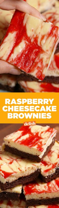 Raspberry Cheesecake Brownies are dessert heaven. Get the recipe on Delish.com.