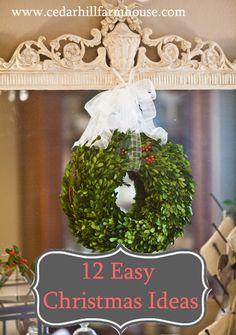 12 easy Christmas decorating Ideas from www.cedarhillfarmhouse.com