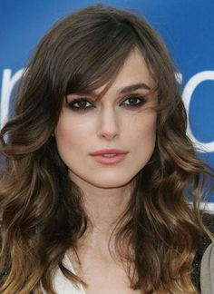 side swept bangs, long layers, wavy, med. brown... this is happening