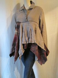 Lagenlook Tunic Rustic Washed Linen Ruffled Layered Khaki Sand Brown Rust Floral Print Size S-M