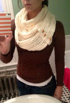 Chunky white crochet infinity scarf. with vintage toggles. Looks similar to the one I made @Lynn Sharbutt for Xmas!: