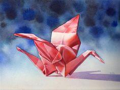 """FLIGHT OF FANCY watercolor origami crane still life painting"" - Original Fine Art for Sale - © Barbara Fox"