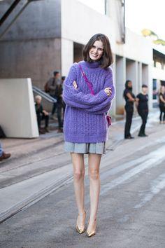 Fuzzy purple cable knit jumper and grey skirt | Chloe Hill | Sydney girls street style | Xssat Street Fashion