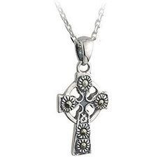 Irish Sterling Silver Marcasite Stone Celtic Cross With Chain - Celtic By Design Claddagh, Marcasite, Cross Pendant, Sterling Silver Chains, Irish, Pendants, Jewels, Celtic Crosses, Dublin Castle