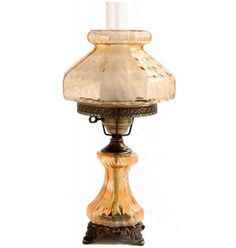 """21"""" Rhombus Octogon Table Lamp. 10"""" Shade. 3 way switch, top-bottom-both. Night Light with 7.5 watt bulb included in base, 150 Watt maximum main bulb and antique brass finished metal components. Made in the USA"""