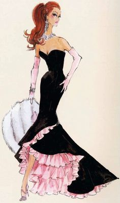 Vogue Fashion Sketch. Perhaps have the picture/drawing of the dress with fabrics and hardware attached as sample.