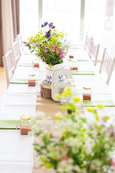 Pastel Flowers Long Tables Hessian Burlap Table Numbers DIY Steam Railway Village Hall Wedding http://www.charlotterazzellphotography.com/