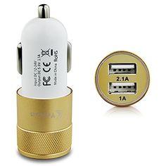 Vakoo KFZ-Ladegerät mit Dual Port USB Autoladegerät Mini Car Charger -Anschlüssen für Apple- und Android-Geräte (Paralleler Betrieb von 2,1A und 1A, für 12-24 V-Zigarettenanzünder-Anschluss) - Gold/Weiß Vakoo http://www.amazon.de/dp/B015O9GYW4/ref=cm_sw_r_pi_dp_KF.qwb0SGQ3QD