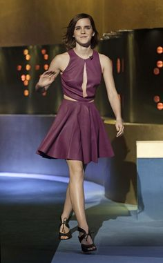 Emma Watson shows off legs in a purple dress on The Jonathan Ross Show