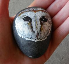 Hand Painted River Stone  Barn Owl by TwoBlueRavens on Etsy, $10.00