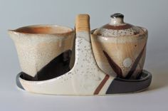 Pottery cream and sugar set by NellHazinskiPottery on Etsy, $85.00