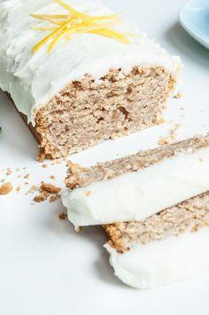 Lemon Loaf Cake Recipe with Lemon Coconut Oil Frosting   VeganFamilyRecipes.com   #vegan #dairy free #dessert