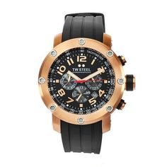 TW Steel Men's TW130 Grandeur Tech Black Rubber Chronograph Dial Watch TW Steel. $292.00. Mineral crystals. Rose gold plated steel case black rubber band. Quartz movement. Black chronograph dial. Water-resistant to 330 feet (100 M). Save 63%!