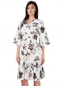 Closet Khaki Floral Wrap Kimono Sleeve Dress