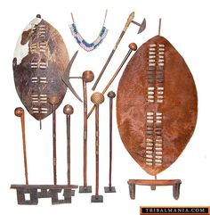 Zulu Weapons - shields ,Knop-Kerrie, short handed spear.