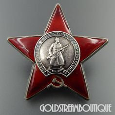 Soviet Russia USSR WWII Enameled Silver Red Star Original Order Medal Badge 3506524