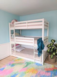 """40 Cute Triple Bunk Bed Design Ideas For Kids Rooms To Have - Many of us who grew up in the """"old days"""" have very fond memories of life in bunk beds. Whether you shared your room with your brother or sister or fir. Triple Bunk Beds, Bunk Beds Built In, Kids Bunk Beds, Cubbies, Beddys Bedding, Bunk Bed Rooms, Bedrooms, Bed For Girls Room, Child Room"""