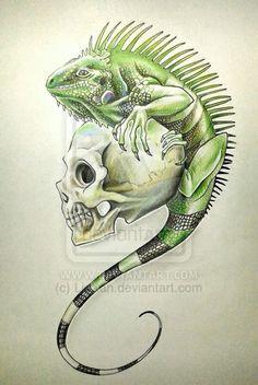 Iguana and Skull