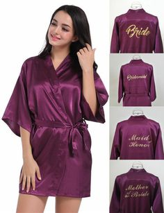 New Satin Silk Personalized Wedding Robe Bridesmaid Bride Mother Dressing Gown Satin Dressing Gown, Bride Dressing Gown, Kimono Dressing Gown, Wedding Dress Hanger, Wedding Kimono, Gown Wedding, Wedding Groom, Party Gown Dress, Party Gowns