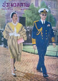 """Their Royal Highnesses of Thailand (RAMA IX) King Bhumibol and Queen Sirikit พระบาทสมเด็จพระเจ้าอยู่หัวภูมิพลอดุลยเดช และ สมเด็จพระนางเจ้าสิริกิติ์ พระบรมราชินีนาถ ภาพจากปกหนังสือ ประมวลภาพเสด็จเยือน อังกฤษ-เยอรมัน ๒๕๐๓ ; 1960 """"๑๙ กรกฎาคม ๒๕๐๓ เสด็จฯ เยือนวิหาร Westminster, London คราวเสด็จฯ เยือนBritain ระหว่างวันที่ ๑๙-๒๓ กรกฎาคม ๒๕๐๓"""""""